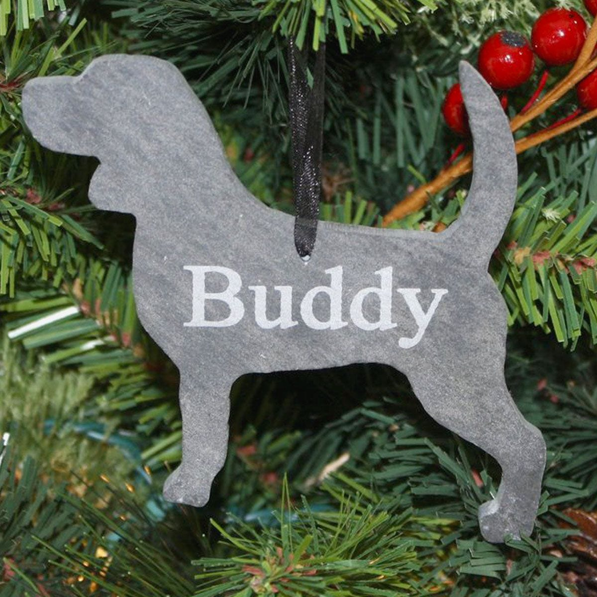 Personalized Dog Slate Christmas Ornament