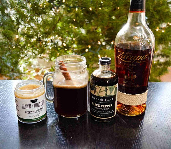 Hot Black Pepper and Brown Buttered Rum Cocktail