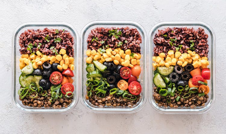 To-Go Food Containers with a Colorful Lunch