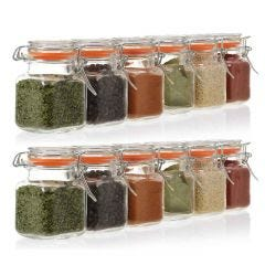 12 sealable glass jars for spices and herbs