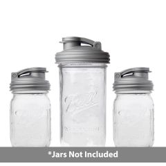 reCAP® Mason Jar  Pour Carry Lid 3 Pack | 2 Regular mouth | 1 Wide Mouth Lid | Silver