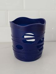 Cuppow Mason Jar Silicone Sleeve for 8-ounce jars in dark blue (side view).