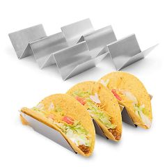 2 Pack stainless steel taco holders that hold 3 tacos each