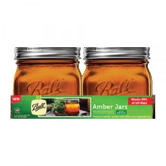 Ball® Canning Jars with lids 16 Ounce Wide Mouth Amber Mason Jars | Case of 4