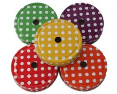 Solid Color Straw Hole Tumbler Lids With Polka Dots for Regular Mouth Mason Jars, 10-Pack