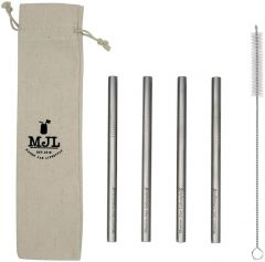 Long Stainless Steel Smoothie Straw for Quart Mason Jars, 4-Pack+Cleaner+Cloth Bag