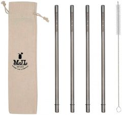 Long Safer Rounded End Stainless Steel Straw for Quart Mason Jars, 4-Pack+Cleaner+Cloth Bag