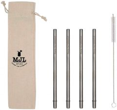 Medium Safer Rounded End Stainless Steel Straw for Pint Mason Jars, 4-Pack+Cleaner+Cloth Bag