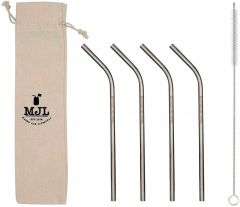 Medium Thin Bent Stainless Steel Straw for Pint Mason Jars, 4-Pack+Cleaner+Cloth Bag