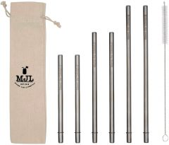 Combo Pack Safer Rounded End Stainless Steel Straws for Mason Jars, 6-Pack+Cleaner+Cloth Bag