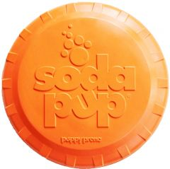 SodaPup - Natural Rubber Bottle Top Flyer - Dog Flying Disc - Fetch Toy - Orange - Large - Made in USA