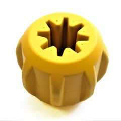 Industrial Dog ID Gear by SodaPup - Natural Rubber Treat Pocket - Fetch & Dental Chew Toy - Yak Chew Holder - Treat Dispenser - Slow Feeder - Power Chewers - Yellow - Large