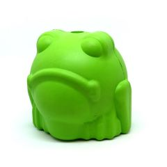 Mutts Kick Butt by SodaPup Natural Rubber Bull Frog Shaped Chew Toy and Treat Dispenser for Aggressive Chewers, Guaranteed Tough, Made in USA, Large Green