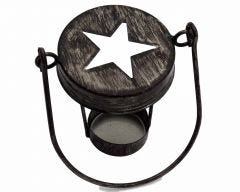Star Cutout Tea Light Candle Holder Lid With Handle for Regular Mouth Mason Jars, 3-Pack