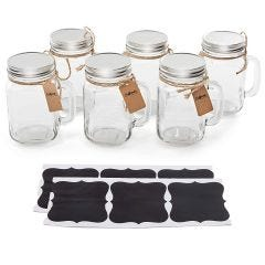 Vintage Mason Jar Mugs With Chalkboard Labels, 6 Pack - Regular Mouth