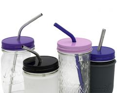 Straw Hole Tumbler Lids for Regular Mouth Mason Jars, 10-Pack