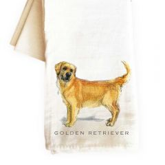 Golden Retriever Dog Handdrawn tea towel
