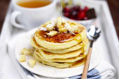 Green Tea Caramelized Banana Pancakes