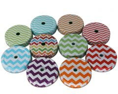 Thick Chevron Straw Hole Tumbler Lids for Regular Mouth Mason Jars, 10-Pack