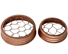 Shiny Copper Flower Organizer Frog Lid with Chicken Wire for Mason Jars, 3-Pack