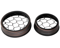 Oil Rubbed Bronze Flower Organizer Frog Lid with Chicken Wire for Mason Jars, 3-Pack