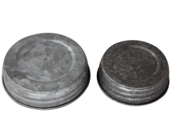Galvanized Vintage Reproduction Mason Jar Lids, 4-Pack