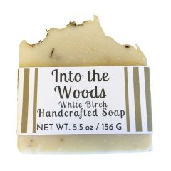 Into the Woods White Birch Handcrafted Soap on White Background
