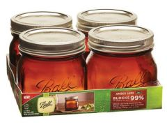 16 Ounce Amber Wide Mouth Ball Mason Jars | Case of 4