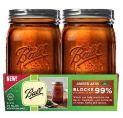 32 Ounce Amber Wide Mouth Ball Mason Jars | Case of 4