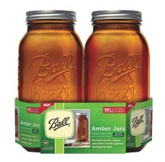 64 Ounce Amber Wide Mouth Ball Mason Jars | Case of 2