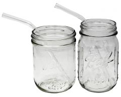 Clear Medium Bent Glass Straws for Pint Mason Jars, 4-Pack + Cleaning Brush