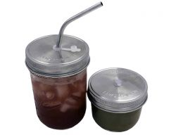 Stainless Steel Straw Hole Tumbler Lids for Mason Jars, 5-Pack
