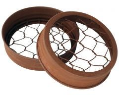 Rusty Flower Organizer Frog Lid with Chicken Wire for Wide Mouth Mason Jars, 3-Pack