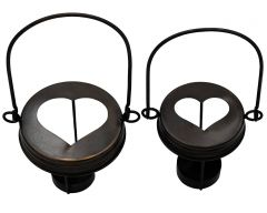 Oil Rubbed Bronze Heart Cutout Tea Light Candle Holder Lids With Handles for Mason Jars, 3-Pack