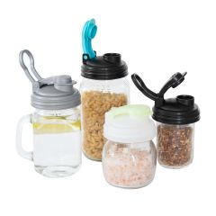 reCAP® Mason Jar Pour Lid with Fold out Carry Loop | 4-Pack