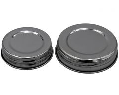 Polished Stainless Steel Vintage Reproduction Storage Lids with Silicone Lid Liners for Mason Jars, 5-Pack