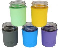 Silicone Sleeve for Regular Mouth Half Pint Mason Jars, 2-Pack