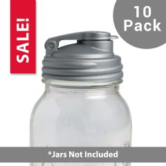 10 Pack Silver POUR Mason Jar drinking lid
