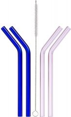 Short Bent Glass Straws for Half Pint Mason Jars, 4-Pack (2 Pink + 2 Blue + Cleaning Brush)
