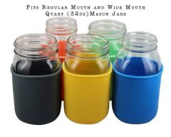 Silicone Sleeves for Quart Mason Jars, 2-Pack