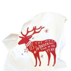Holiday Hand Drawn Reindeer Printed Cotton Kitchen Holiday Tea Towels