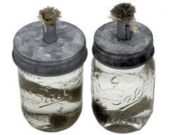 Tiki Torch Oil Lamp Lid in Galvanized Metal for Mason Jars, 2-Pack