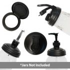 reCAP® Mason Jar Lids Five Piece Starter Set in Black