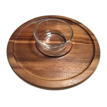 Chip & Dip Serving Tray with Glass Bowl
