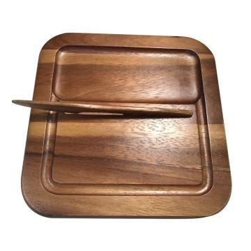 Cheeseboard with Knife made from Acacia wood