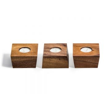 Acacia wood Candle Holder with Tea lights - Set of 3