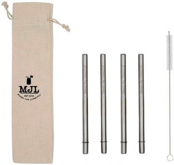 Short Safer Rounded End Stainless Steel Straw for Half Pint Mason Jars, 4-Pack+Cleaner+Cloth Bag