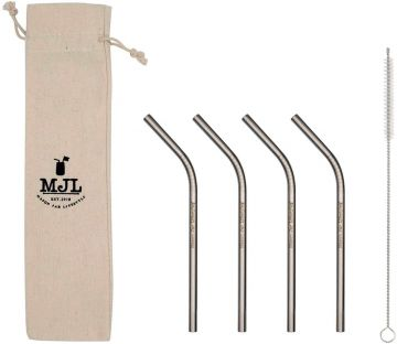 Short Thin Bent Stainless Steel Straw for Half Pint Mason Jars, 4-Pack+Cleaner+Cloth Bag