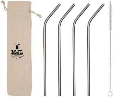 Long Thin Bent Stainless Steel Straw for Quart Mason Jars, 4-Pack+Cleaner+Cloth Bag