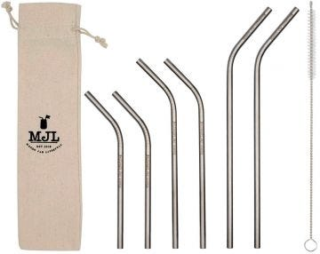 Combo Pack Thin Bent Stainless Steel Straws for Mason Jars, 6-Pack+Cleaner+Cloth Bag